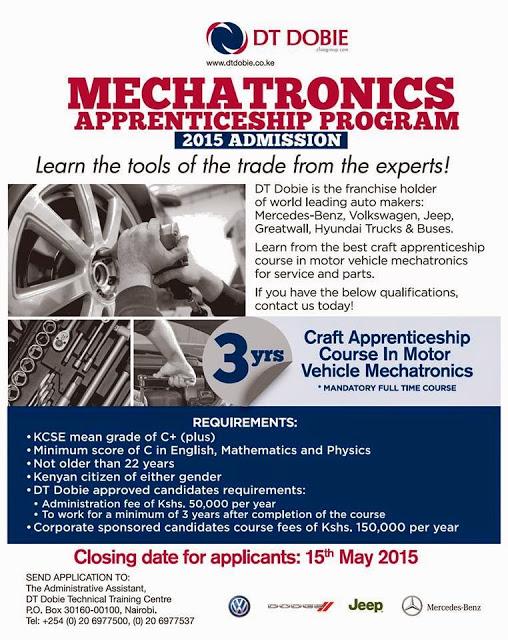 DT-Dobie Kenya Recruiting Mechanical Engineering Course