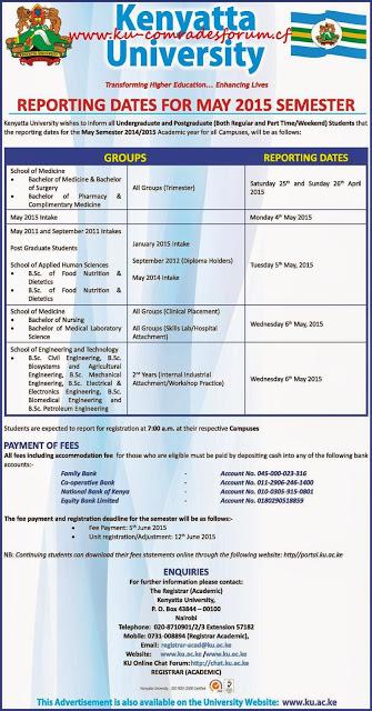 Kenyatta University May Session Reporting Dates K U