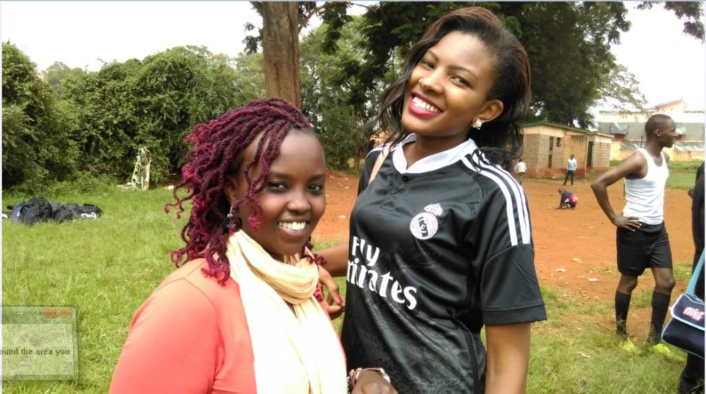 Cheerleaders: Sheila Wambui and the lovely Rose Macharia - Miss Kenyatta University.
