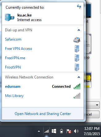 Screenshot: Connected to eduroam!