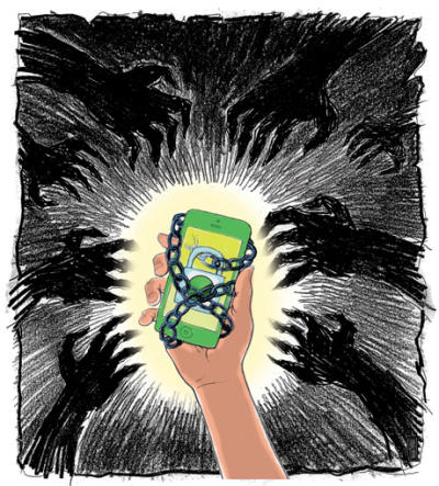 Illustration by Chuck Todd  For Tech Monday story by Dana Hull 'Apple and Samsung are taking steps to fight back against thieves'...by 'using technological solution to thwart would be robberries'. Using the Find my iphone app...can render an iphone useless to the person who stole it.