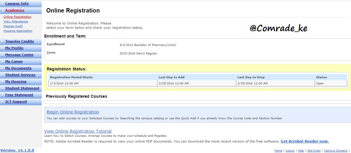 Online units registration deadline dates pushed k u for K u student portal