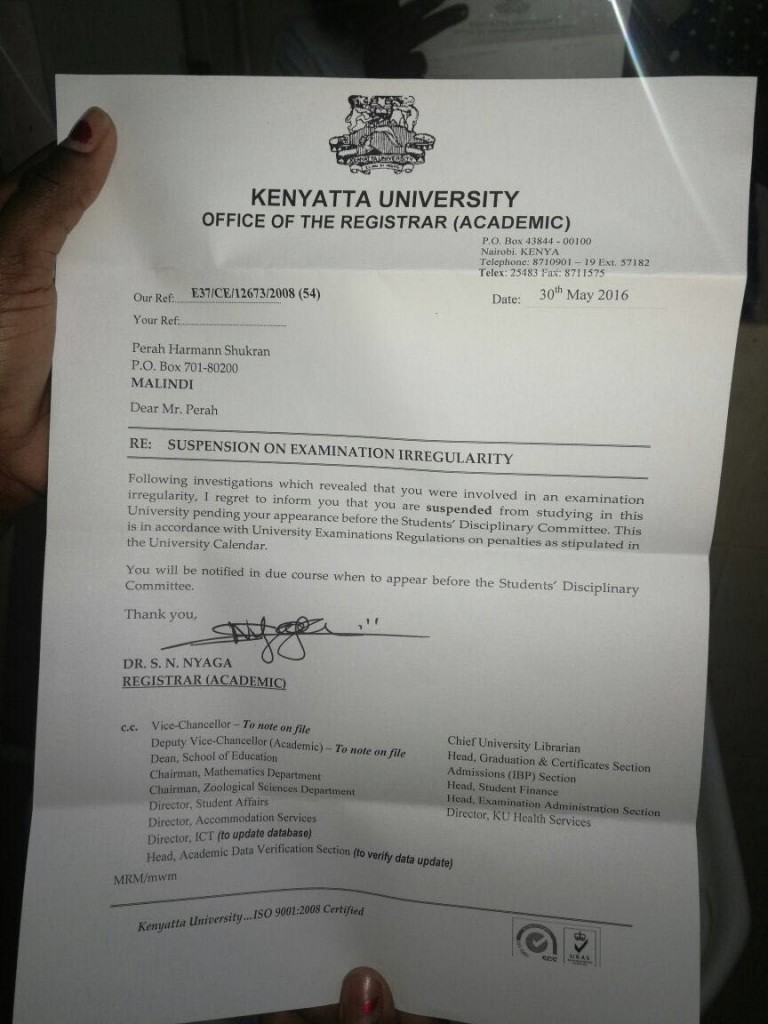 Student Suspended For Buying Exam Results in Kenyatta University