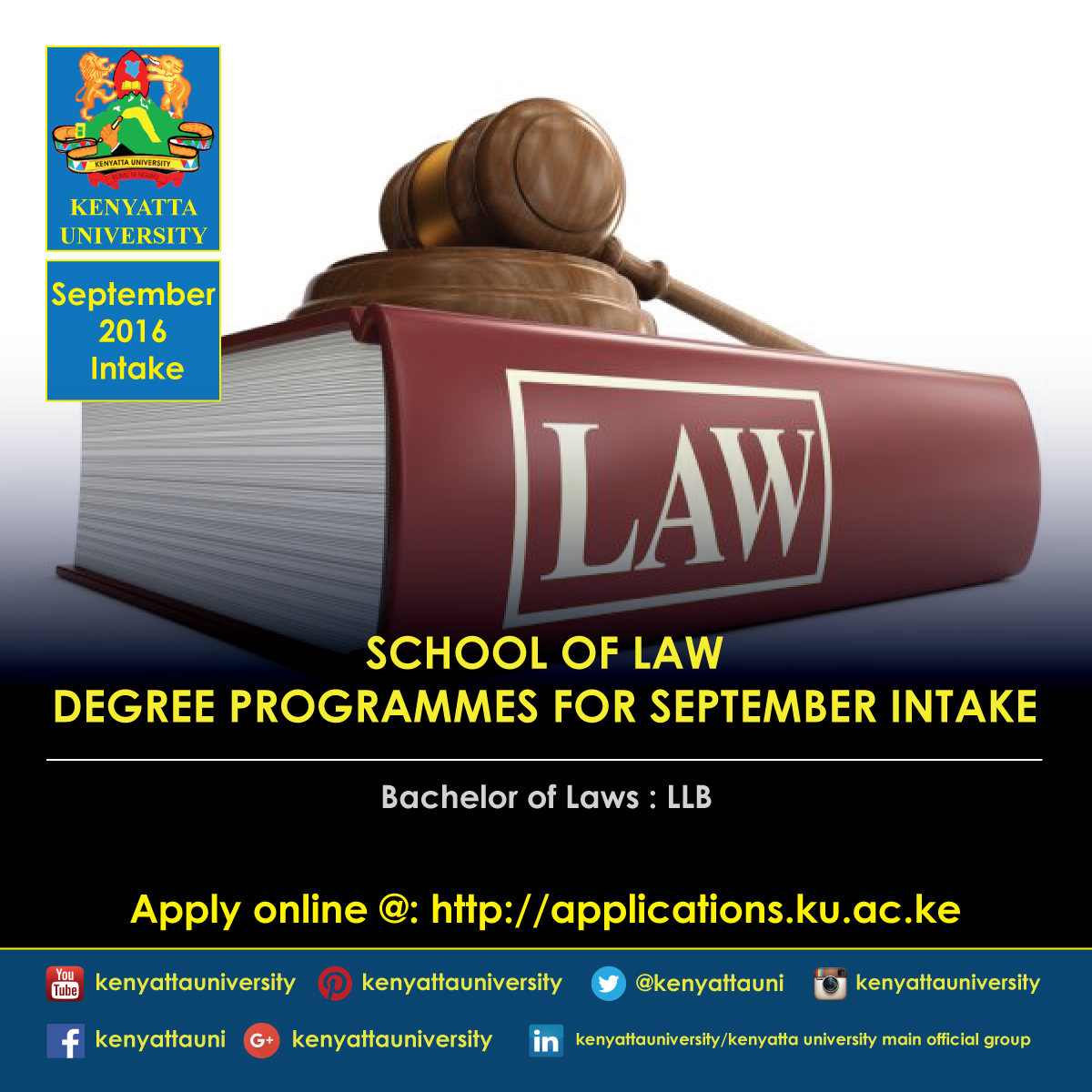 Kenyatta University September 2016 Intake Deadline K U