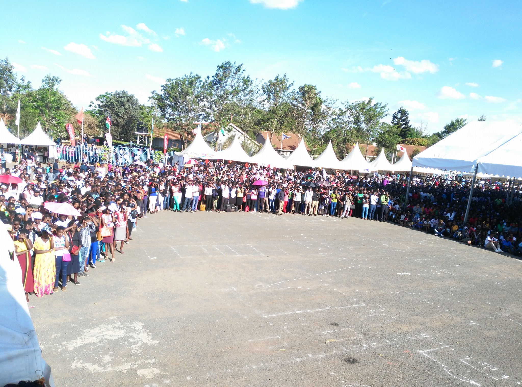 Crowd of Kenyatta University Students at Bishop Square