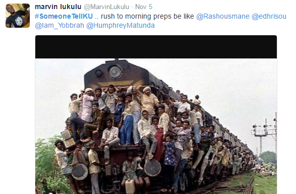 someonetellku 3 vile watu wa KU hupanda Train