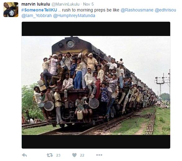someonetellku 3 vile watu wa KU hupanda Train