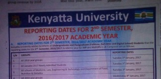 Kenyatta Uni 2nd Semester Reporting Dates January 2016