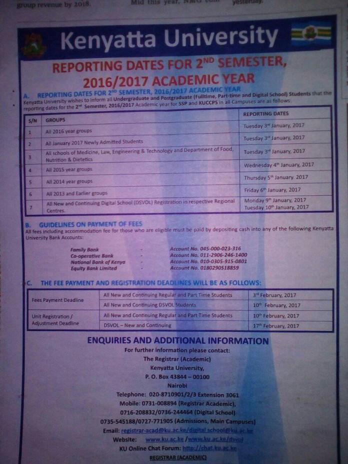 Kenyatta Uni 2nd Semester Reporting Dates January 2016