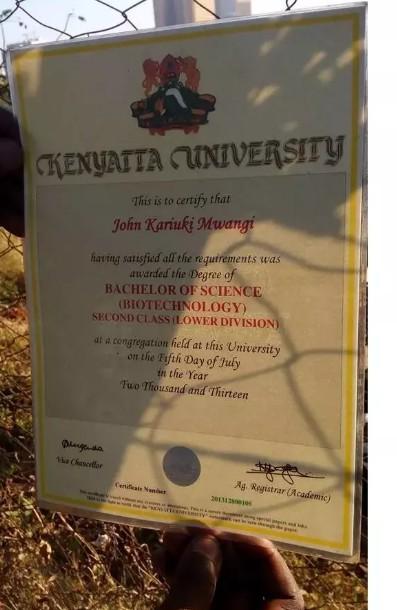 Kenyatta University Graduation Certificate Sample