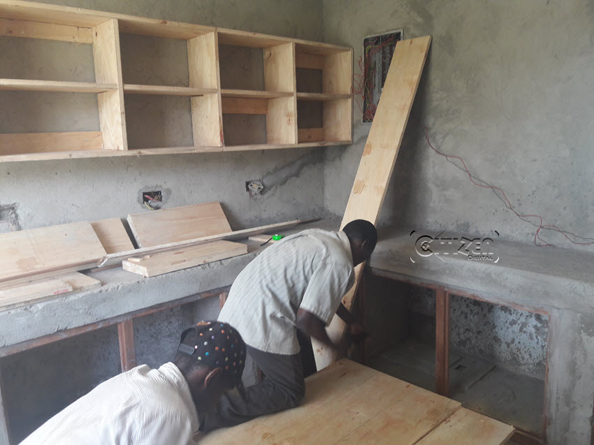 The kitchen area at Nyayo 5 being worked on. (PHOTO/Charity Wanja)