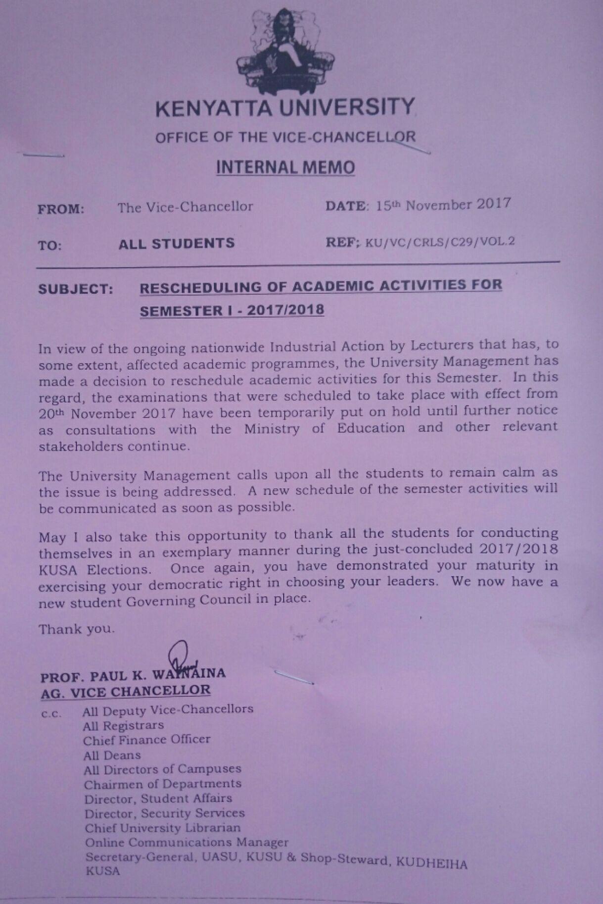 Kenyatta University Reschedules Semester 1 2017/18 Dates | K U