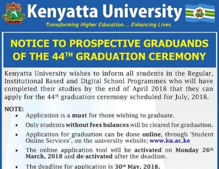 Registration For 44th Graduation Ceremony Deadline Dates | K U
