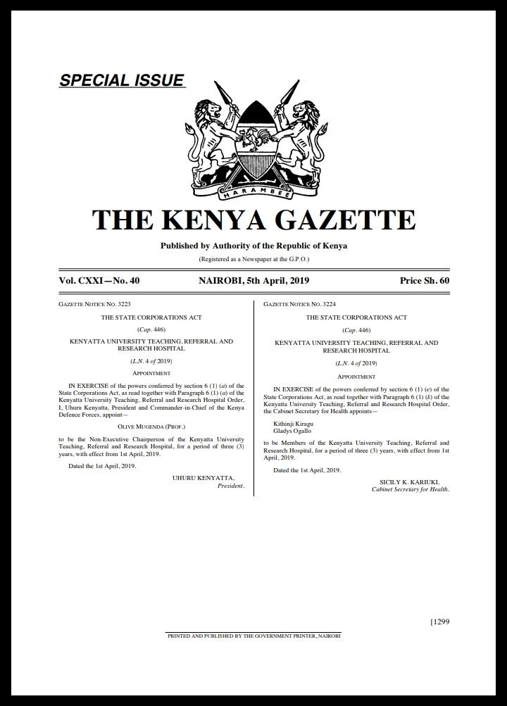 Prof Olive Mugenda Nominated To Chair Kenyatta Uni Hospital Board