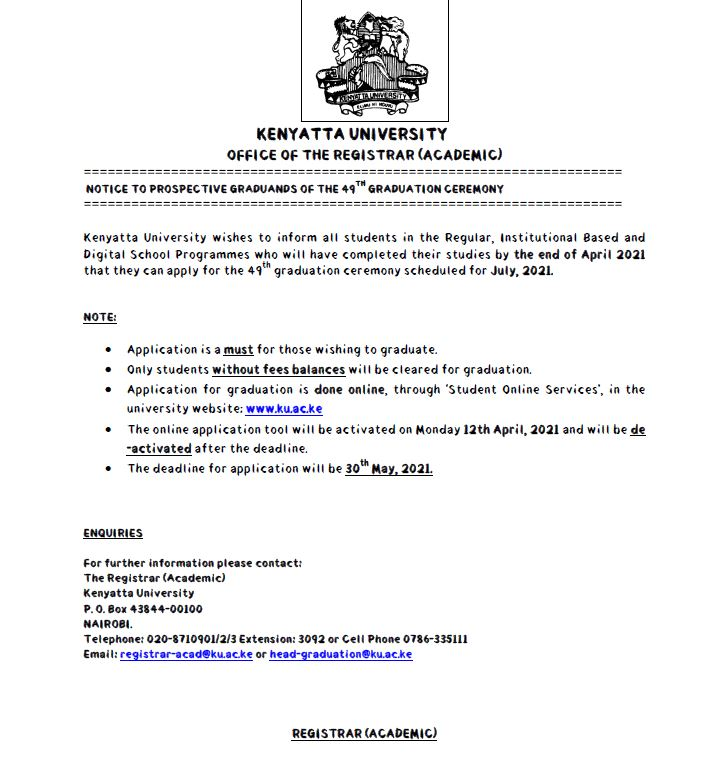 KU 49th Graduation Ceremony 2021 Notice